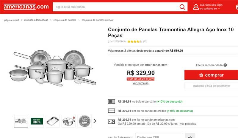 Conjunto de Panelas Tramontina Allegra Aço Inox 10 Peças