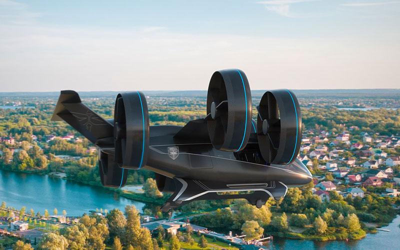 Uber em carro voador no futuro