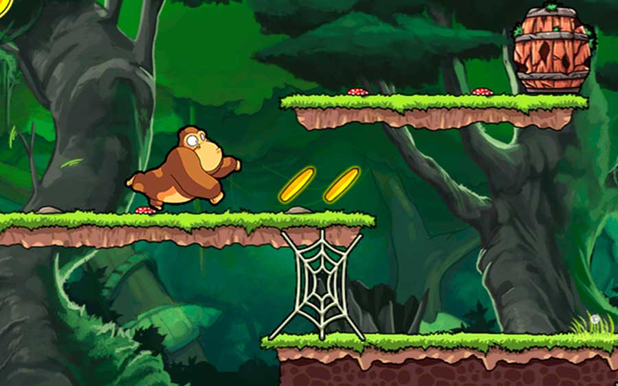 Lembrei do clássico Donkey Kong jogando Banana Kong no celular