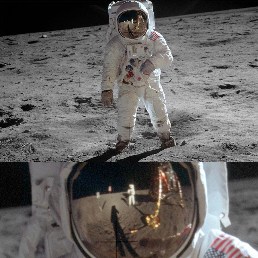 Aldrin na superfície lunar; o reflexo de Armstrong pode ser visto no visor