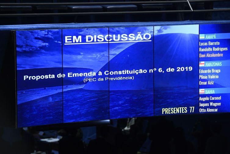 Plenário vota, em 1° turno, a reforma da Previdência (PEC 6/2019). - Marcos Oliveira/Agência Senado