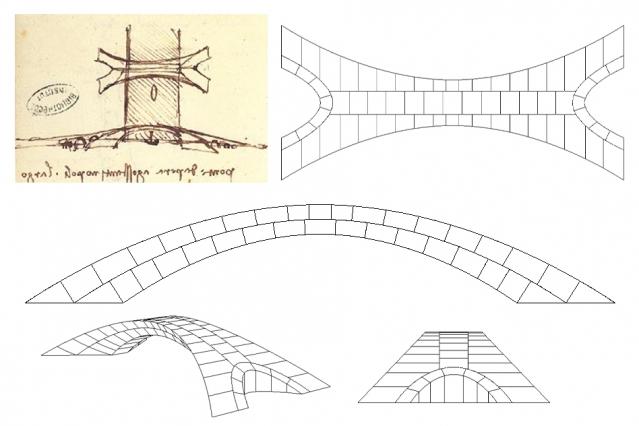 O desenho original de Leonardo da Vinci da proposta da ponte (canto superior esquerdo), mostrando uma vista aérea no topo e uma vista lateral abaixo, incluindo um veleiro passando embaixo da ponte. À direita e abaixo, desenhos de Karly Bast e Michelle Xie mostrando como a estrutura pode ser dividida em 126 blocos individuais, impressos em 3D para construir um modelo em escala. (foto: Karly Bast and Michelle Xie / MIT)