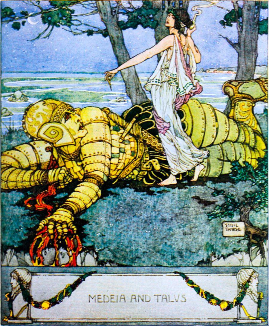 De Histórias de deuses e heróis (1920) por Bulfinch Thomas Bulfinch com ilustrações coloridas desenhadas por Sybil Tawse