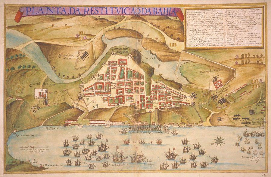 """""""Planta da restituição da Bahia"""" (João Teixeira Albernaz, o velho, 1631): em primeiro plano a Armada Espanhola contra os invasores da Companhia Neerlandesa das Índias Ocidentais"""