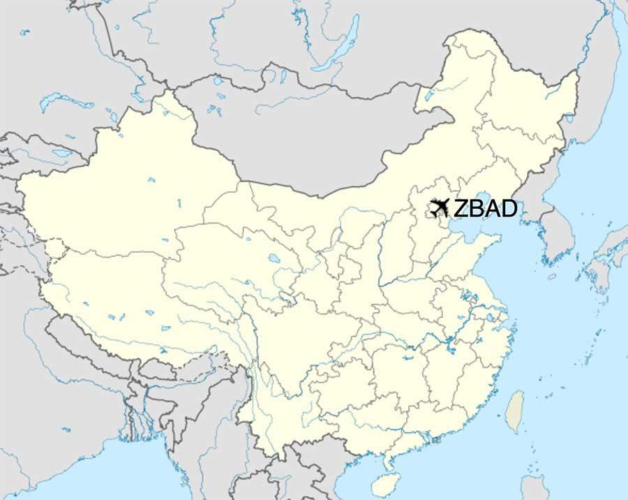 Localização do aeroporto na China