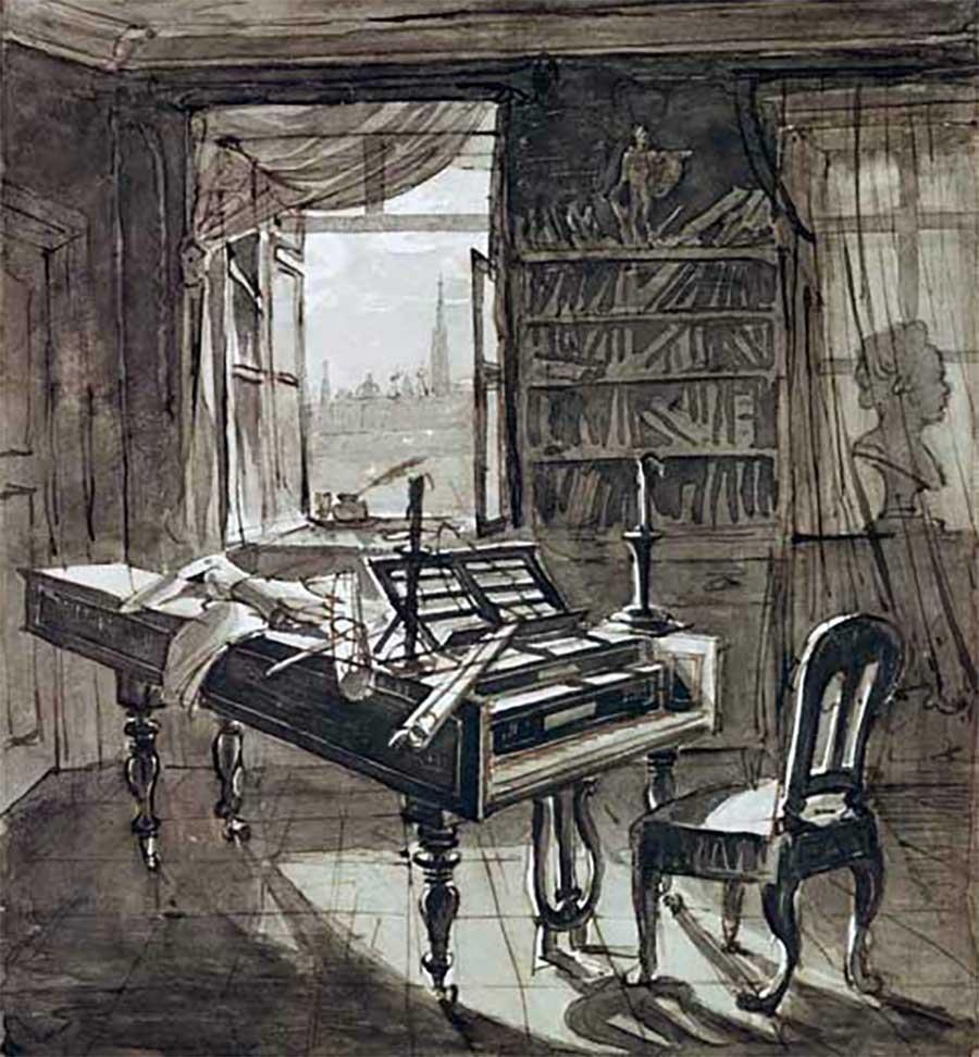 Estúdio de Beethoven em 1827 por J.N. Hoechle.