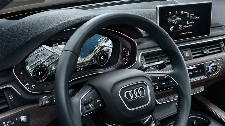 O Virtual Cockpit do Audi A4 Avant oferece características da mais alta qualidade e tecnologia. O conjunto de instrumentos na forma de uma tela LCD de alta resolução de 12,3 polegadas apresenta informações de forma versátil e compreensível.