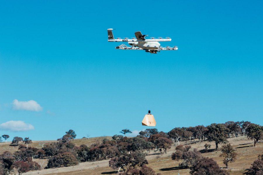 Drone de entrega sobre Queanbeyan, Austrália
