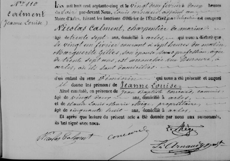 Certidão de nascimento de Jeanne