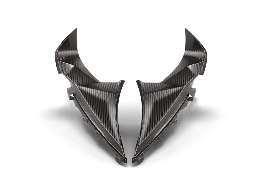 M Performance Parts for the BMW S 1000 RR. M carbon fairing side panel, upper left; M carbon fairing side panel, upper right.