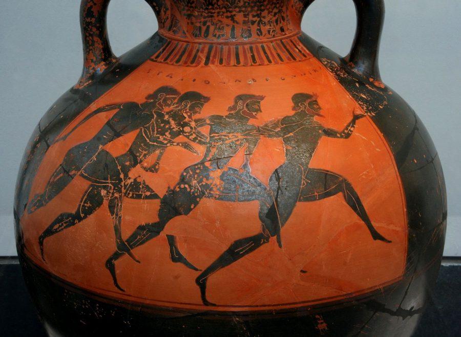 Vaso grego com corredores nus nos Jogos Panatínicos de 530 aC. C., no estilo de Orsipo (Wikipedia)